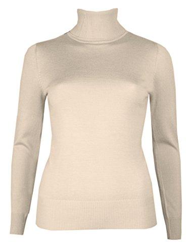 Brody & Co. - Maglioncino a collo alto, da donna, finemente cucito a maglia, maglione invernale, a tinta unita Cream