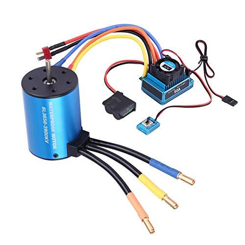 Dilwe RC Motor ESC, 3650 3900KV Brushless Motor und wasserdichter 60A Brushless ESC RC Combo für 1/10 RC Auto( Motor + Regler)