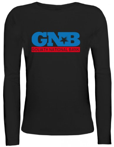 National Bank Street (Shirtstreet24, Goliath National Bank, GNB Lady / Girlie Longsleeve Langarm T-Shirt , Größe: S,schwarz)