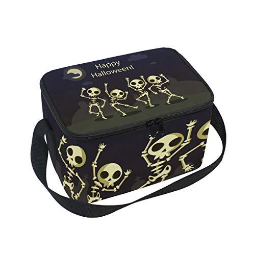 ALINLO Happy Halloween Skull Moon Lunch Bag, Zipper Insulated Cooler Tote Bag, Lunchbox Meal Prep Handbag for Picnic School Women Men ()