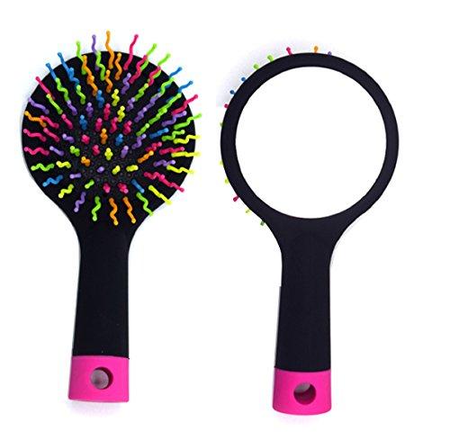 Spazzola - Antistatica - Magic - Hair - Rainbow - Specchietto - (Nero)