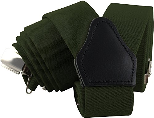 Sencillo Herren Hosenträger Grün mit Starken Clips Y-Form Retro Outfit Grüner Hosenträger