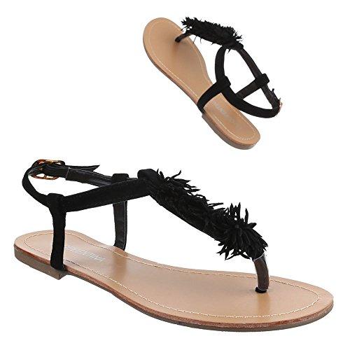 Damen Schuhe, B08L-SF, SANDALEN ZEHENTRENNER Schwarz