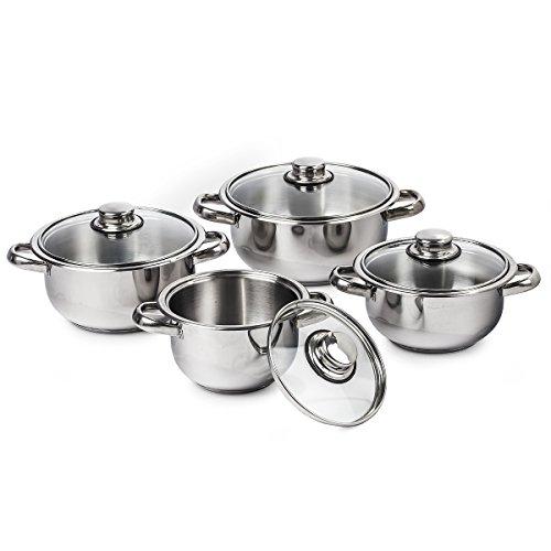 4Home Set of Stainless Steel Cookware Destiny, Edelstahl, silber, 20 cm, 8-Einheiten (8 Sandwich-einheit)