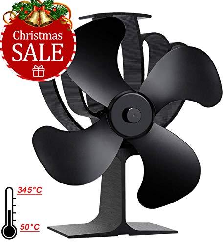 Aobosi Hitze Powered Ofen Fan für Holz/LOG Brenner/Kamin,Umweltfreundlich Ventilator Ofenventilator mit 4 Rotorblätter und Kein Lärm,Schwarz