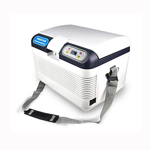 HuanLeBao Thermoelektrische Kühlbox, 12Liter, anschlussfertig für den PKW, 12-Volt, Kühlen und Heiz-Funktion, tragbarer Mini-Kühlschrank,72w , Weiß , 12L
