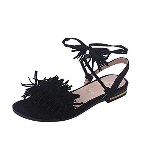 Witsaye sandali da donna da estate pu cuoio sandali bohemia bassi infradito spiaggia di estate peep toe scarpe (39, nero)
