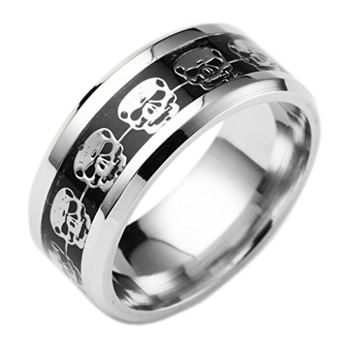 erthome Ring, Unisex High Quality Stainless Steel Punk Style Skull Ring Hip Hop Ring Jewelry (Silber, 7)