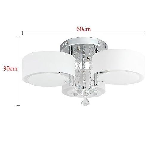 21W Lampadario LED, bianco caldo e RGB, cristallo acrilico, per soffitto, parete, corridoio, camera da letto, cucina, soggiorno 3-flammig