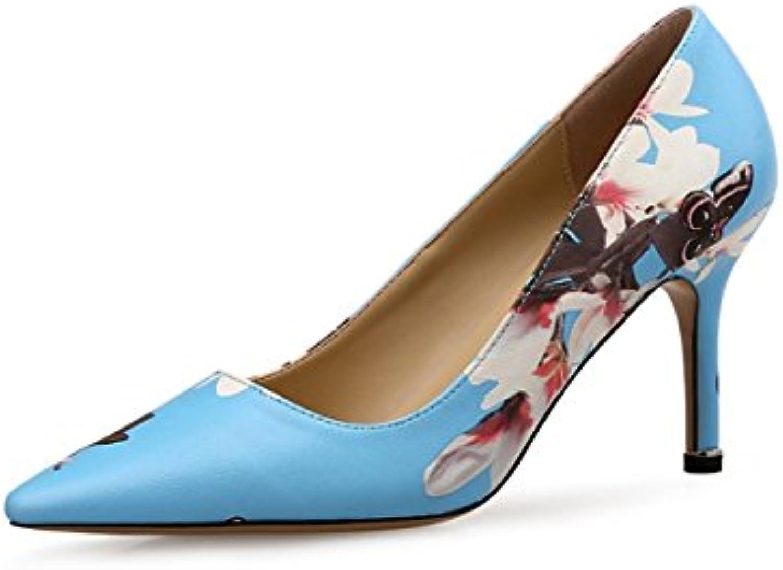 DIMAOL Damenschuhe Synthetische Microfaser PU Feder Fallen Komfort Heels Stiletto Heel Schuhe für Party & Abendö