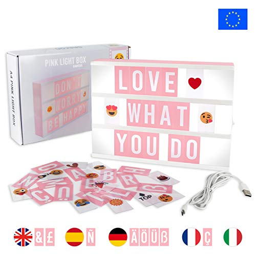 Light Box Rose avec 105 Lettres, 50 Emojis et USB - BONNYCO...