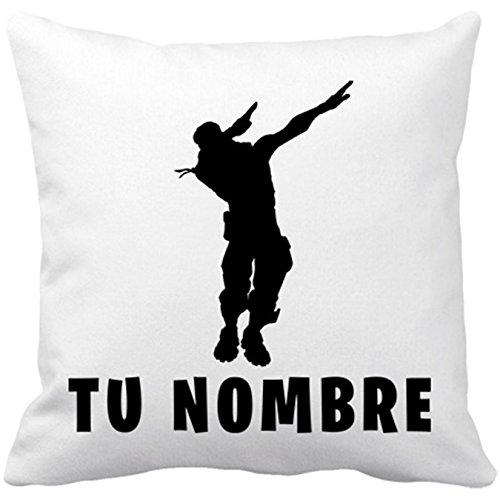 Diver Bebé Cojín con Relleno Fortnite Pose Dab Personalizable con Nombre - Blanco, 35 x 35 cm
