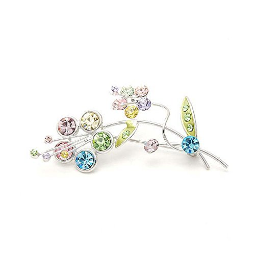 Glamorousky Flower and Leaves Brooch with Multi-colour Austrian Element Crystals (931)