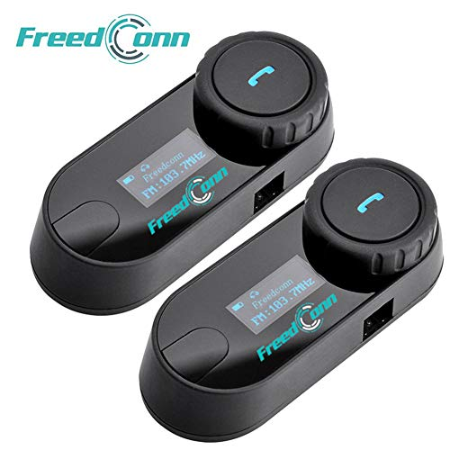 FreedConn Casco de la Motocicleta intercomunicador Bluetooth,Auricular Bluetooth de la Motocicleta walkie-Talkie,...