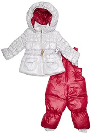 Papermoon Baby Girl's Jacket and Salopettes Snowsuit Silver/ Orchid Pink 1 - 3 Months