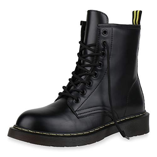 SCARPE VITA Damen Stiefeletten Worker Boots Profilsohle Stiefel Outdoor Schuhe 173511 Schwarz 37