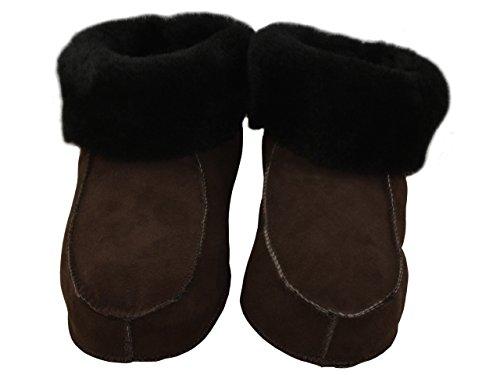 Natural Line Chaussons montants pour femme en peau de mouton retournée Semelles en cuir ou dures Couleurs variées Brown (Leather Sole)