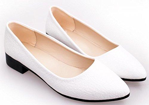 Zapatos de tacón bajo de las mujeres de YCMDM Zapatos ocasionales del ocio puro y cómodo del color White