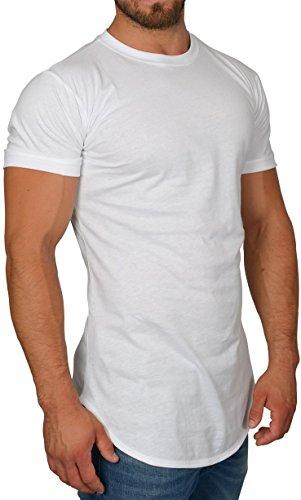 MMC Oversize Shirt Herren - Basic T-Shirt Männer - Kurzarm Longshirt Weiß (S d77d87496f