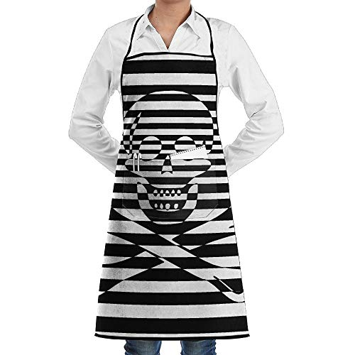 Zebra Skull Flag Of Pirate Schürze Lace Adult Mens Womens Chef Adjustable Polyester Long Full Black Cooking Kitchen Schürzes Bib With Pockets For Restaurant Baking Crafting Gardening BBQ Grill (Eine Lady Pirate Kostüm)