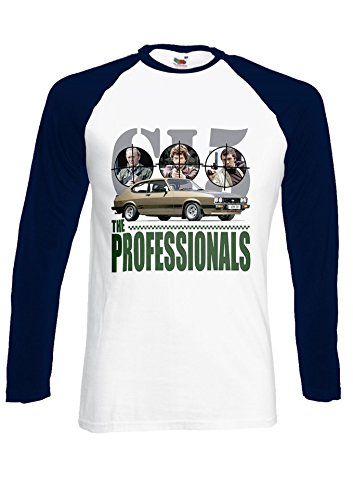 The Professionals Gold Mk3 Ford Capri 3.0s Navy/White Men Women Unisex Long Sleeve Baseball T Shirt-XXL (Womens Gold Baseball)