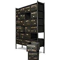 Comparador de precios pib - Cómodas - Cómoda de Taller diseño Industrial con 24 cajones, Mueble de Almacenamiento, 100% Vintage con Estilo Industrial - precios baratos