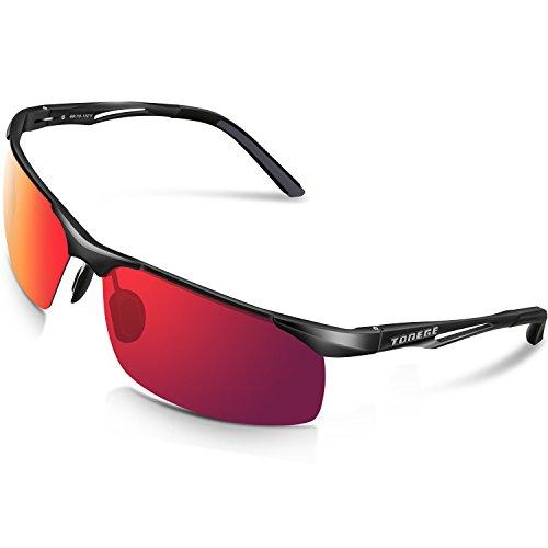 Torege Polarisierte Sport-Sonnenbrille für Männer/Frauen, Zum Radfahren, Laufen, Angeln, Golfen, TR90 unzerbrechlicher Rahmen Al-Mg-Metall M294, Black&Black&Red Lens ...