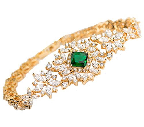 KnSam Damen Vergoldet Armband Armreif Edle Blume Weiß Grün Crystal Zirkonia [Neuheit Armband]