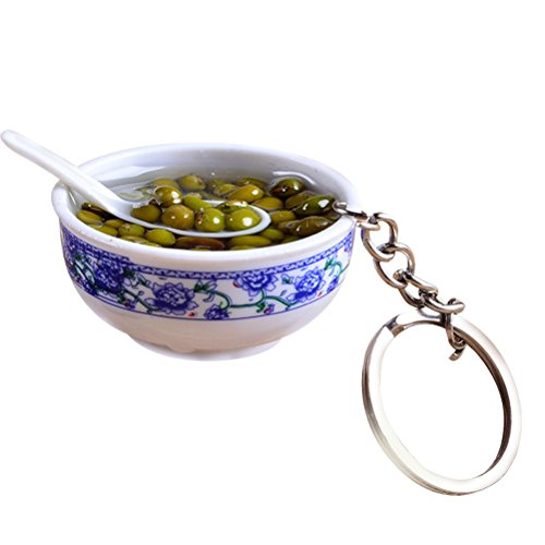 Artificial Lifelike Food Bowl Chinese Blue and White Porcelain Mini Bag Pendant Simulation Food Charms Jewelry Creative Keychain (Mung Bean Soup)