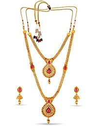 Variation Set Of 2 Classic Gold Plated Wedding Jewellery Collection Necklace Set-VD18186