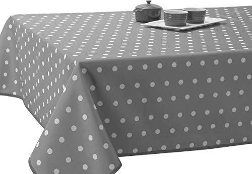 Nappe Anti-Taches Pois Gris - taille : Rectangle 150x240 cm