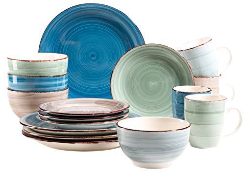 MÄSER 931212 Serie Bel Tempo 16-teiliges buntes Vintage Geschirr Set, Kombiservice für 4 Personen, handbemaltes Keramik Service, Steingut Vintage Keramik