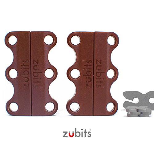 Preisvergleich Produktbild zubits® - Magnetische Schuhbinder / Magnetverschlüsse für Schuhe - Nie wieder Schuhe binden! Größe 1 Kinder und Senioren in braun