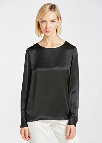 LILYSILK Blouse Femme 100% Soie Bio Haut à Manches Longues Col Rond Basique Féminin Workwear Ladies 22MM XL Noir