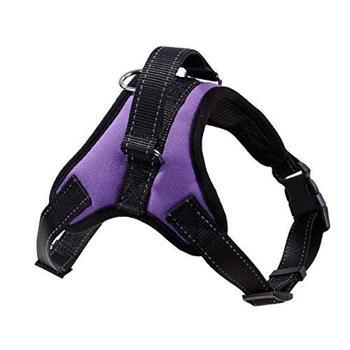 Alaof Kein Zug Hund Brustgeschirre,Einstellbar Sicherheit Nylon Gehen Ausbildung Hundegeschirr,Purple,S -