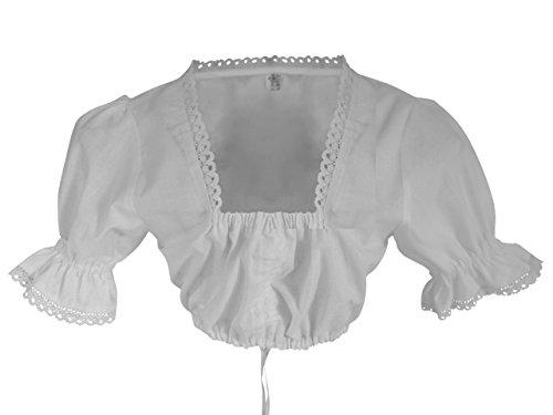 Db03 Wunderschöne Bluse für Dirndl mit sehr schöner Stickerei, Größe 48