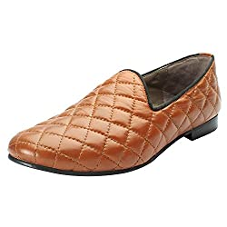 Bareskin Tan color Hand Finished Genuine Leather Diamond Stitched Loafer Shoes For Men size-7