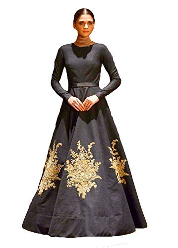 Roadstar India Women's Indo-Western Gown (Bollywood_Designer_Black_Free Size) (Black)