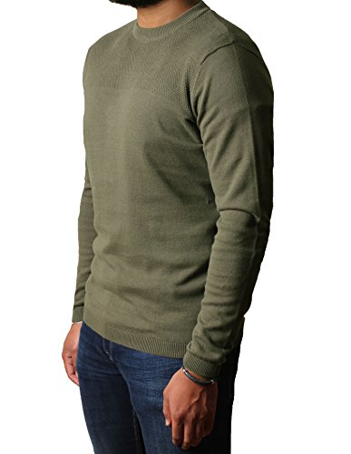 Uomo sportivo girocollo Jumper Dissident cotone pullover Sweater Maglieria Stelios Amazon Khaki