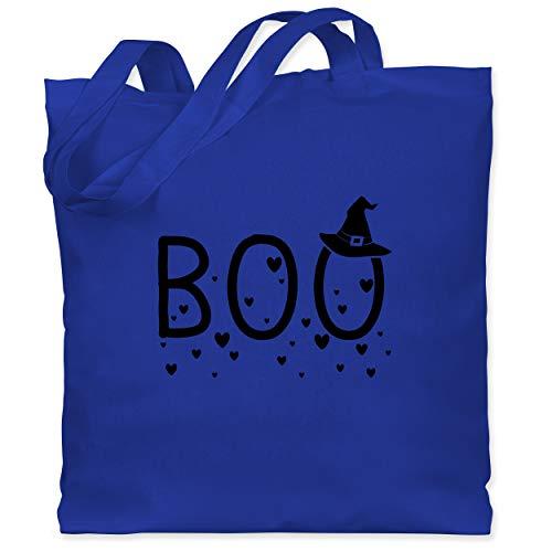 Shirtracer Halloween - Boo mit Herzchen und Hexenhut - schwarz - Unisize - Royalblau - WM101 - Stoffbeutel aus Baumwolle Jutebeutel lange - Aktuelle Event Kostüme Ideen