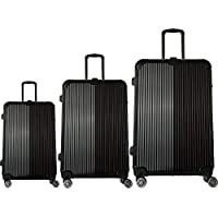Discovery Smart Luggage Stripes with Built-in Scale, Chip Tracker, 3 Piece Set, Black - RA8686