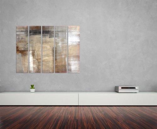 Abstraktes Wandbild beige rotbraun 5x30x120cm XXL extra großes 5-teiliges Wandbild auf Leinwand und Keilrahmen fertig zum aufhängen – Unsere Bilder auf Leinwand bestechen durch ihre ungewöhnlichen Formate und den extrem detaillierten Druck aus bis zu 100 Megapixel hoch aufgelösten Fotos