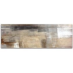 Paul Sinus Art Panoramabild auf Leinwand und Keilrahmen 150x50cm Malerei Kunstwerk abstrakt braun beige