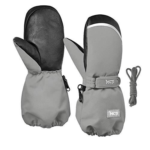 Kineed Fäustlinge Kinderhandschuhe Wasserdicht Handschuhe Kleinkind Snowboard Skihandschuhe 1-15 Jahre Kleinkinder Jungen Mädchen, Grau, XS (Herstellergröße: 6)