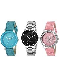 PIRASO Analogue Blue Black Pink Dial Women's Combo of 3 Watch - Pw3-06