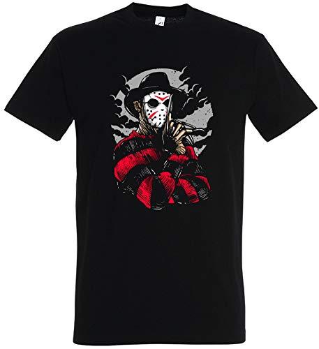 T-Shirt Herren/Damen Schwarz mit Freddy Aufdruck (XL, Schwarz)