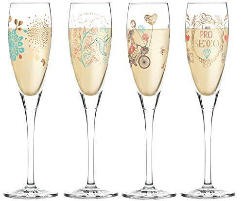 RITZENHOFF Pearls Edition Lot de 4 Verres Prosecco avec Chiffon de Nettoyage en Verre – Volant de Refroidissement Shari Warren, Alice Wilson – Collection Printemps 2019