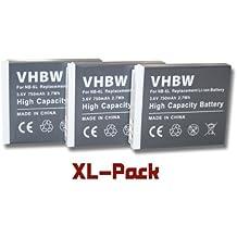 3 x Batería Li-Ion 750mAh (3.6V) compatible con cámara Canon PowerShot SX530HS, SX530 HS, SX610HS, SX610 HS, SX710HS, SX710 HS