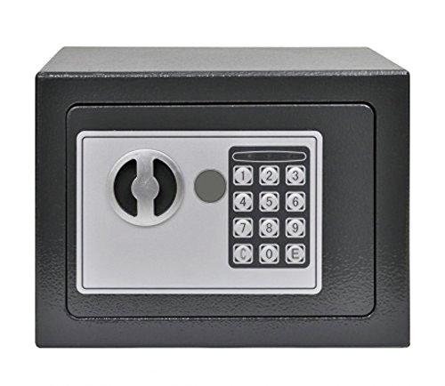 Esclusiva Cassaforte blindata compatta con serratura elettronica con 2 chiavistelli e cerniere a scomparsa antiscasso - per fissaggio con incasso a muro, al pavimento, per essere nascosta in uno scaffale, mobile, in un armadio, da parete o pareti - funziona con combinazione numerica tramite tastierino digitale e con 2 chiavi di sicurezza di emergenza – piccola safe box elettrica combinatore elettronico con chiusura doppio pistone ideale per camere d'albergo, hotel, b&b, casa o ufficio (Grigio)