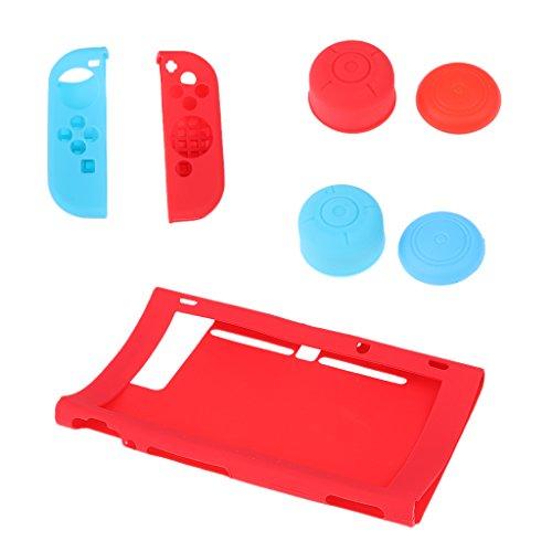 Preisvergleich Produktbild MagiDeal 7In1 Silikon Gehäuse Schutzhülle Kasten Abdeckung Joystick Kappen Schutzkappen Nintendo Switch Joy-Con Zubehör Set - Rot